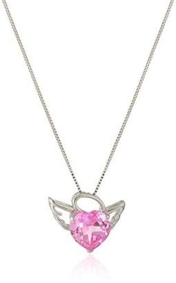 Angel Heart Women's Sterling Silver Created Sapphire Pendant Necklace
