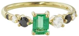 Mociun Seven Sister Stone Cluster Emerald Ring