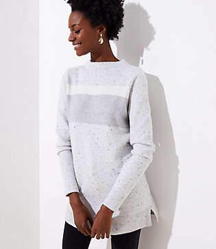 LOFT Striped Funnel Neck Tunic Sweater