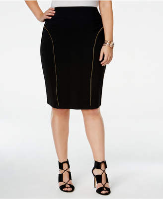 Justice Poetic Trendy Plus Size Zipper-Trim Pencil Skirt