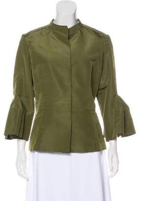Oscar de la Renta Silk Long Sleeve Jacket Olive Silk Long Sleeve Jacket