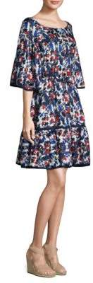 Milly Hibiscus Print Fit-&-Flare Dress