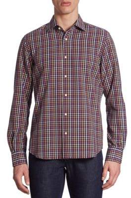 Saks Fifth Avenue COLLECTION Seersucker Gingham Checked Shirt