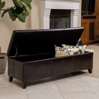 Noble House Franciscan Brown Faux Leather Storage Ottoman