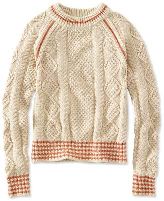 L.L. Bean L.L.Bean Signature Cotton Fisherman Sweater, Crewneck Tipped