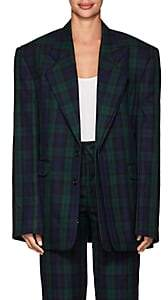 Y/Project Women's Plaid Twill Two-Button Blazer - Navy