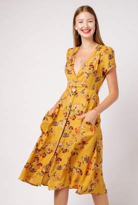 Azalea Floral Deep V Neck Midi Dress