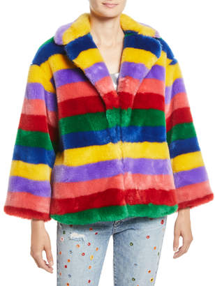 Alice + Olivia Thora Oversize Striped Faux-Fur Hook-Front Coat