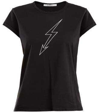 Givenchy Lightning Bolt Print Cotton T Shirt - Womens - Black