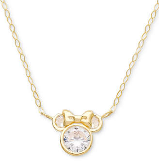 "Disney Children's Cubic Zirconia Minnie Mouse 15"" Pendant Necklace in 14k Gold"