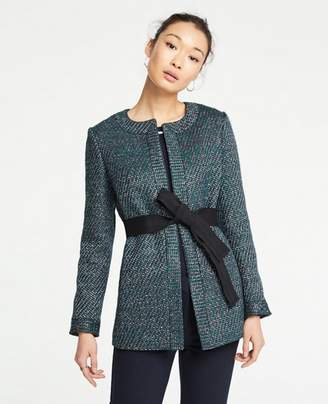 Ann Taylor Petite Belted Tweed Jacket