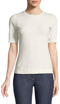 Escada Short-Sleeve Crewneck Pointelle Scuba Knit Top