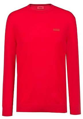 HUGO BOSS Crew-neck crepe sweater with logo badge