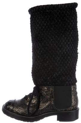 Chanel Metallic CC Cap-Toe Booties