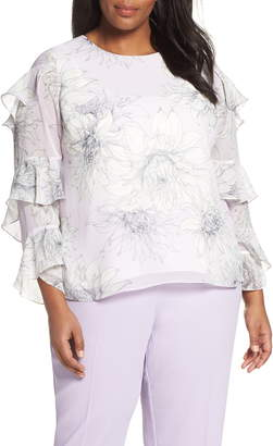f299931c1e40b Vince Camuto Pagoda Blossoms Tiered Ruffle Sleeve Blouse