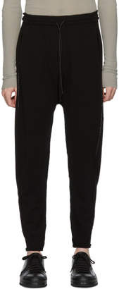 Isabel Benenato Black Crepe Embroidered Lounge Pants