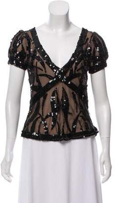 Blumarine Sequined Short Sleeve Top