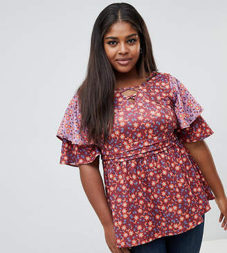 Junarose Floral tiered sleeve Smock Top