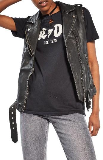TopshopWomen's Topshop Leather Moto Vest