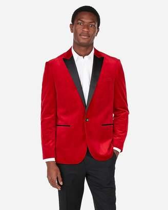 Express Slim Red Velvet Tuxedo Jacket