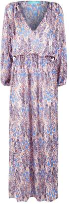 Melissa Odabash Alison Feather Print Maxi Dress