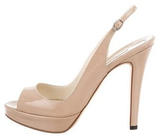 Brian Atwood Patent Leather Slingback Pumps $230 thestylecure.com