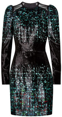 Elie Saab Printed Velvet Dress