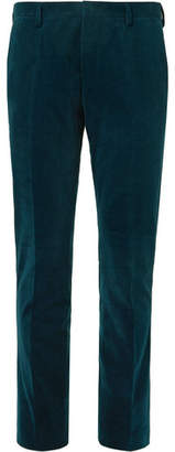 Teal Slim-Fit Cotton And Cashmere-Blend Corduroy Suit Trousers