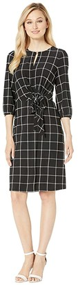 Lauren Ralph Lauren B826P Barlow Check Adariah Elbow Sleeve Day Dress