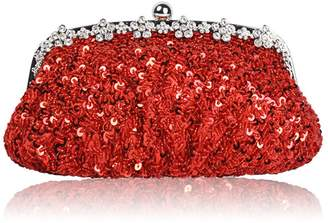 Liveinu Women's Evening Bag Beaded and Sequined Clutch Purse Bags Wedding Party
