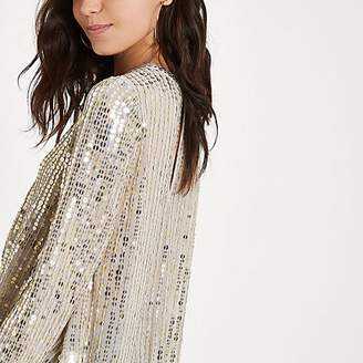 River Island Gold sequin tuck front long sleeve top