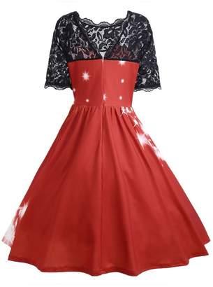 f9e62e18de97 CieKen Women Dress Teen Girls Dresses,Womens Christmas Party Dress Ladies  Vintage Xmas Swing Lace