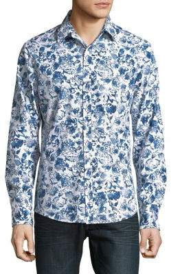 Michael Kors Slim-Fit Floral Art Shirt