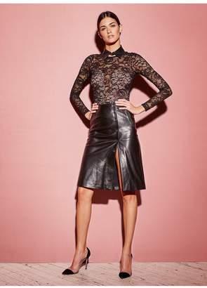 Fleur Du Mal Leather A-Line Skirt