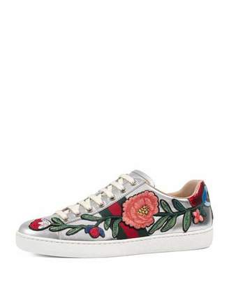 Gucci New Ace Floral Leather Sneaker, Silver $695 thestylecure.com