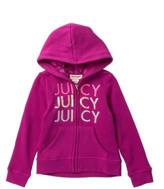 Juicy Couture Purple Crown Faux Fur Lined Fleece Zip Up Hoodie (Little Girls)