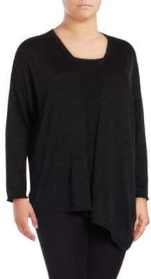 NYDJ Plus Metallic V-Neck Asymmetrical Sweater