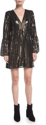 Nanette Lepore Lady Marmalade V-Neck A-Line Sequined Mini Cocktail Dress