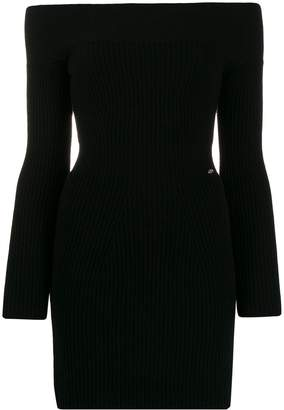 Elisabetta Franchi off shoulder ribbed knit dress