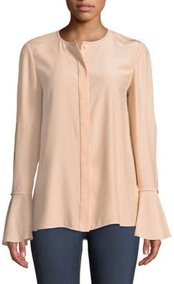 Lafayette 148 New York Izzie Matte Silk Blouse w/ Bell Sleeves