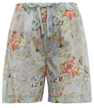 Preen by Thornton Bregazzi Isabelle Tapestry Print Ripstop Shorts - Womens - Light Blue