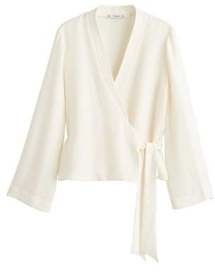 MANGO Tie closure blouse