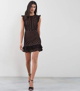 Reiss Alexa Lace Overlay Fit And Flare Dress