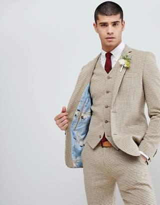 Asos DESIGN Wedding Super Skinny Suit Jacket In Neutral Houndstooth