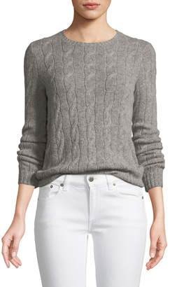 Ralph Lauren Long-Sleeve Crewneck Cashmere Cable-Knit Sweater
