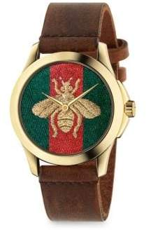 Gucci G-Timeless Embroidered Bee Goldtone Stainless Steel& Leather Strap Watch