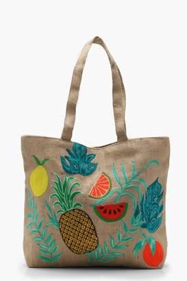 boohoo Lilly Embroidery Tropical Beach Bag