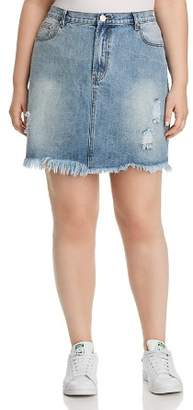 Glamorous CURVY Distressed Acid-Washed Denim Skirt