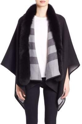 Burberry Reversible Fox Fur-Trimmed Check Merino Wool Poncho