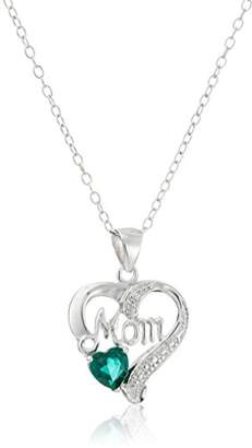 Sterling Silver Created Emerald and Diamond Accent Mom Open Heart Pendant Necklace